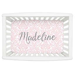 Carousel Designs® Filigree Mini Fitted Crib Sheet in Pink
