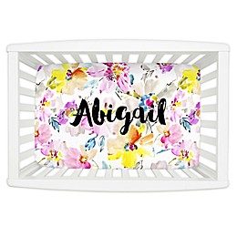 Carousel Designs® Watercolor Floral Mini Fitted Crib Sheet in Pink