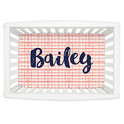 Carousel Designs® Watercolor Plaid Mini Fitted Crib Sheet in Light Coral
