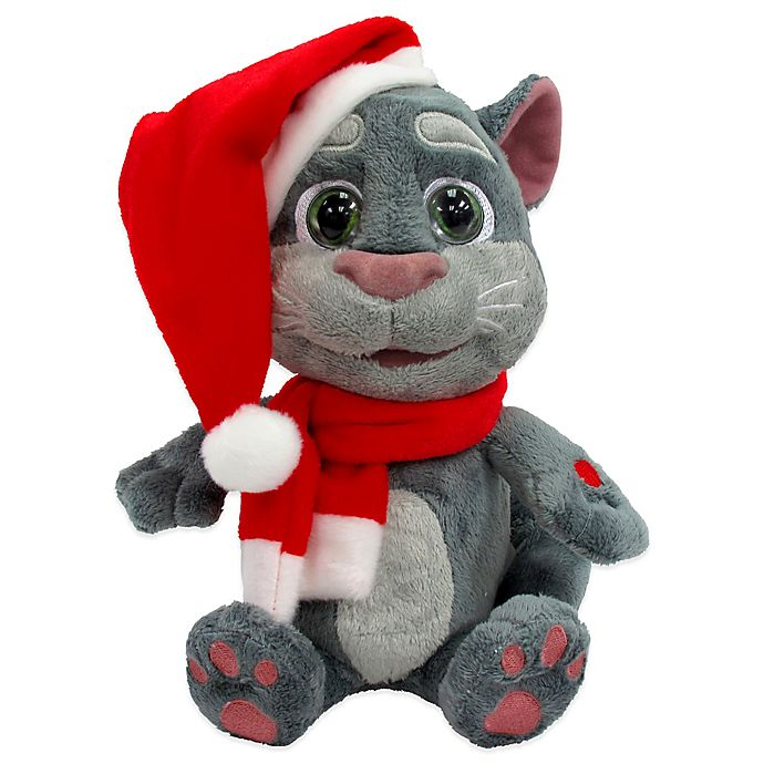 Interactive Talking Tom 11 Inch Plush Christmas Cat With Red Scarf