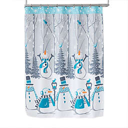 Snow Buddies Shower Curtain with Hooks in Teal