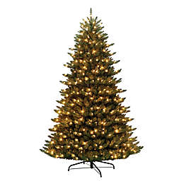 Puleo International 7.5-Foot Spruce Royal Majestic Christmas Tree with Clear Lights