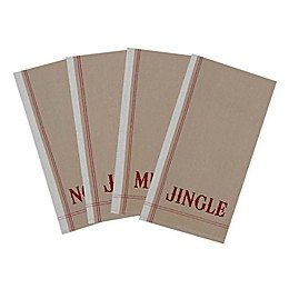 DII Vintage Christmas Dishtowels in Red/Taupe (Set of 4)