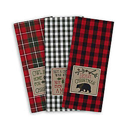 DII Embroidered Cabin Christmas Dishtowels (Set of 3)