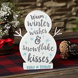 Winter Wishes & Snowflake Kisses Personalized Wood Snowman Collection
