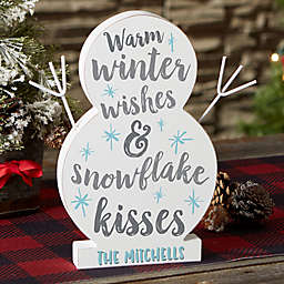 """Winter Wishes & Snowflake Kisses Personalized 9.5"""" Wood Snowman"""