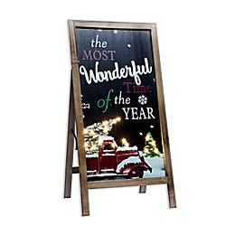 15.75-Inch x 32-Inch Wonderful Time of the Year Porch Sign with LED Lights