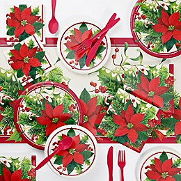 Creative Converting Holiday Poinsettia Party Supplies Kit