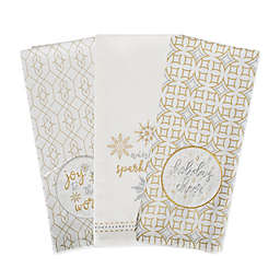 DII Winter Sparkle Dishtowels in White (Set of 3)