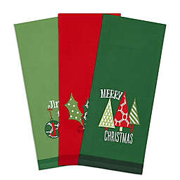 DII Christmas Embroidered Dishtowels in Green/Red (Set of 3)