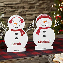 """Snowman Family Personalized 9.5"""" Wooden Snowman"""