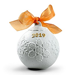 Lladro 2019 4-Inch Porcelain Christmas Ball Ornament in Gold