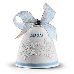 Lladro 2019 3.5-Inch Porcelain Christmas Bell Ornament in Blue