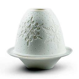 Lladró Snowflakes Lithophany Porcelain Votive in Matte White