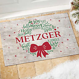 Merry Mistletoe Wreath Personalized Doormat Collection