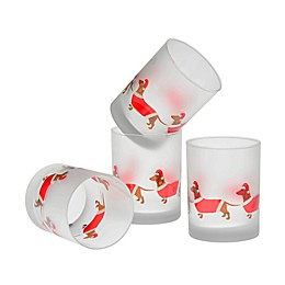 Culver® Santa Dachshunds Double Old Fashioned Glasses in Red (Set of 4)