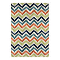 Momeni® Baja Chevron 6'7 x 9'6 Indoor/Outdoor Multicolor Area Rug