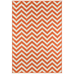 Momeni® Baja Chevron 8'6 x 13' Indoor/Outdoor Area Rug in Orange
