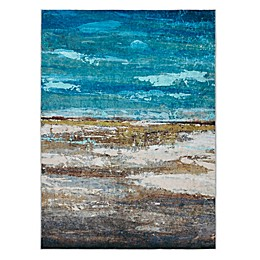 Madison Park Waterscape Printed Shiny Area Rug in Blue/Aqua