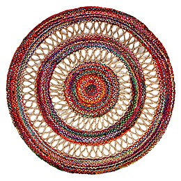 Haven Jute Braid Round Handcrafted Area Rug in Multicolor/Natural