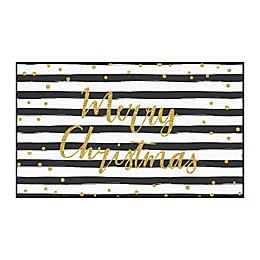 Mohawk Prismatic Merry Christmas Striped Printed Accent Rug in Black & White
