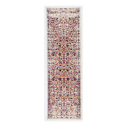 Linon Home Staten Grenich 2' x 3'  Accent Rug in Raspberry/Ivory