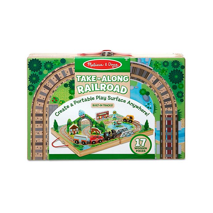 Alternate image 1 for Melissa & Doug® 17-Piece Take-Along Railroad Playset