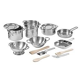 Melissa & Doug® 15-Piece Deluxe Stainless Steel Pots & Pans Playset