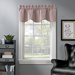 Dover Striped Window Valance in in Red