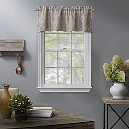Enchantment Embroidered Rod Pocket Window Valance in Linen