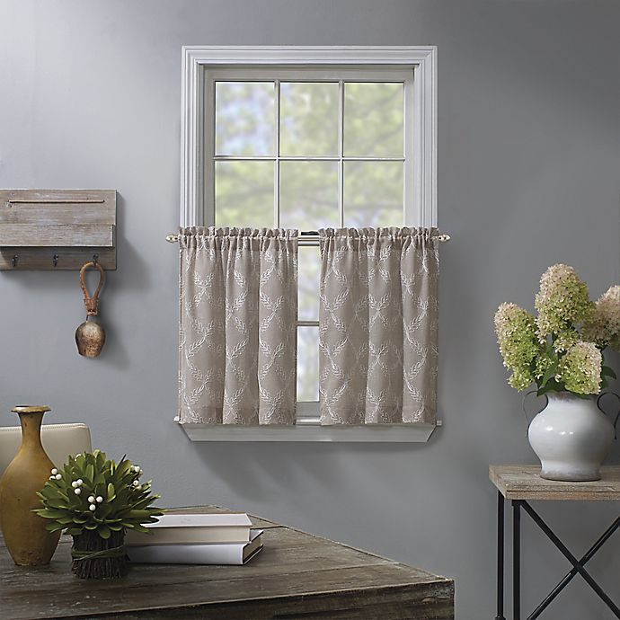 Alternate image 1 for Enchantment Ogee Embroidered 2-Pack 24-Inch Kitchen Window Curtain Tiers in Linen