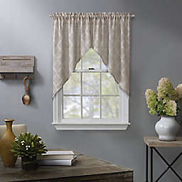 Enchantment Ogee Embroidered 2-Pack Window Curtain Swag Valance in Linen
