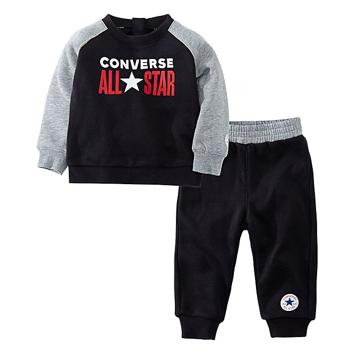 Alternate image 1 for Converse® 2-Piece Fleece Sweater and Jogger Pants in Black