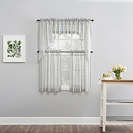 Baymont Stripe Sheer Rod Pocket Kitchen Curtain Valance Collection