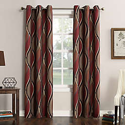 No.918® Intersect Ogee Print 95-Inch Grommet Top Window Curtain Panel in Paprika