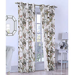 Romantic Floral 2-Pack Grommet Insulated Window Curtain  in Seafoam