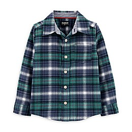 OshKosh B'gosh® Toddler Woven Plaid Shirt in Blue/Green