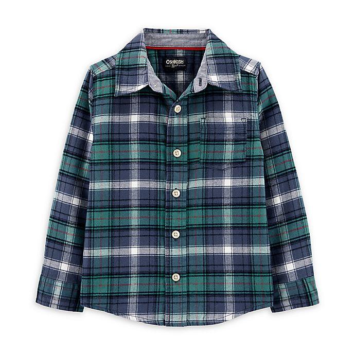Alternate image 1 for OshKosh B'gosh® Toddler Woven Plaid Shirt in Blue/Green
