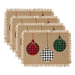 Elrene Home Fashions Farmhouse Living Rustic Placemats in Red/Green (Set of 4)