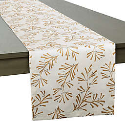 DII Holly Leaves Table Runner in Ivory Metallic