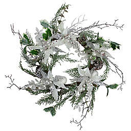 Northlight 22-Inch Poinsettia Christmas Wreath in White