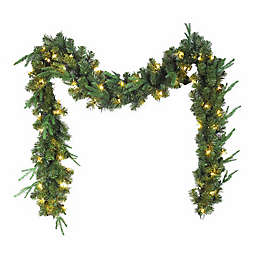 Kurt S. Adler Inc. Faux Pine Garland in Green with Warm White LED Lights