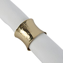 DII Hammered Napkin Ring in Gold (Set of 12)