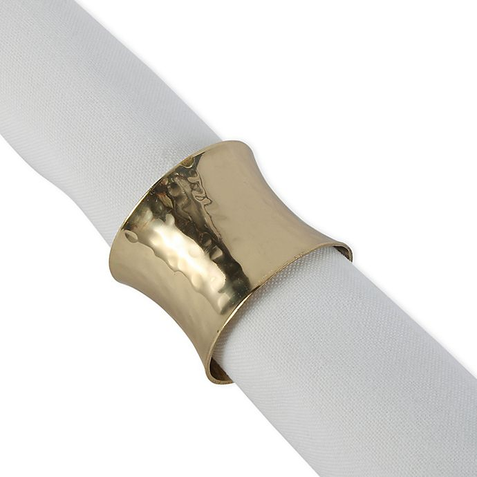 Alternate image 1 for DII Hammered Napkin Ring in Gold (Set of 12)