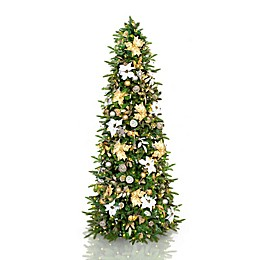 Easy Treezy 7.5-Foot Christmas Tree with Silver and Gold Decorations plus White LED Lights