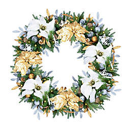Silver and Gold 30-Inch Pre-Lit Christmas Wreath