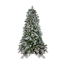 Northlight 7.5-Foot Colorado Pine Pre-Lit Flocked Christmas Tree with Warm White LED Lights