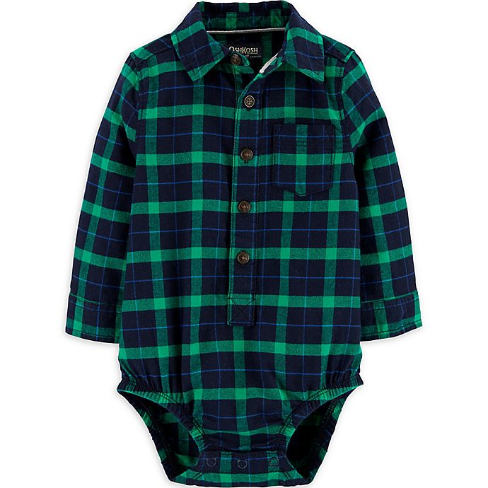 Alternate image 1 for OsghKosh B'gosh® Flannel Plaid Bodysuit in Green/Navy
