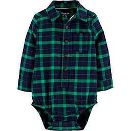OsghKosh B'gosh® Flannel Plaid Bodysuit in Green/Navy