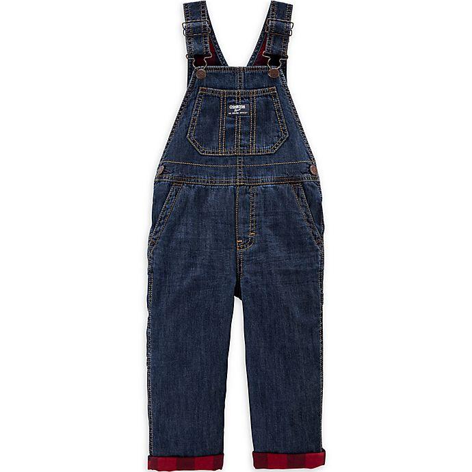 Alternate image 1 for OshKosh B'gosh® Flannel-Lined Overalls in Midnight Wash